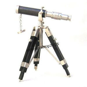 Nautical Maritime Replica Design Telescope With Wood Tripod Floor Stand