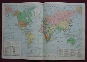 Old Cccp Map Political World Division In 1914 Soviet School Poster Big 1951