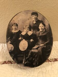 Primitive Oval Wood Box Hand Painted Crackle Paint Old Family Portrait Print