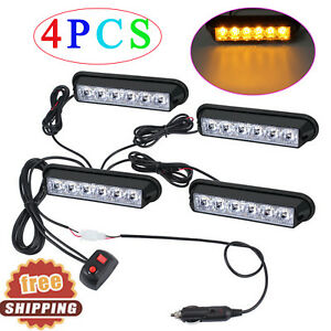 4x 6led Car Flashing Light Amber Cigarette Lighter Strobe Lamp 6w Dc12 24v Ip65