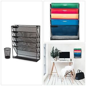 Black Mesh Desk And Wall Organizer File Holder Literature Mail Magazine Rack Wit