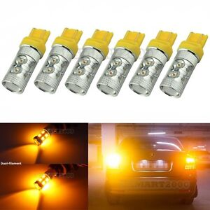 6pcs Amber 7443 7440 T20 60w Super Bright Led Bulbs For Turn Signal