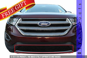 Gtg 2015 2018 Ford Edge 1pc Gloss Black Custom Overlay Bumper Billet Grille