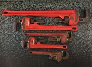 Set Of 5 Ridgid Pipe Wrenches 24 18 14 12 10 Inch