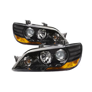 2002 2003 Mitsubishi Lancer Projection Headlights Black Left Right Side Pair