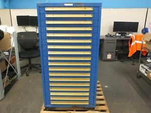 Equipto 30 w Modular Cabinet 18 Drawers 59 h Blue W Forklift Slots