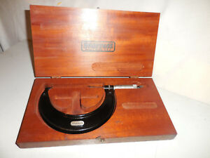 Nice Used Starrett No 436 3 4 Inch Outside Micrometer With Wood Box Case Usa