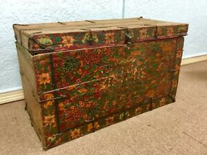 Estate Antique Tibet Painted Buddhist Trunk Chinese 18th Century