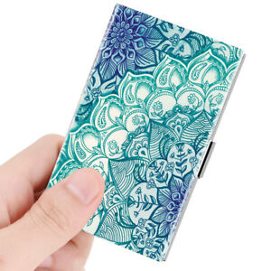 Business Card Holder Genuine Leather Coated Slim Card Case Organizer Emerald