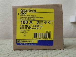 New Circuit Breaker Square D Qo2100vh 100 Amp 2 Pole 120 240v Plug in