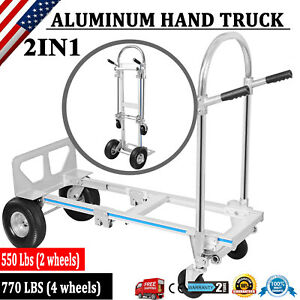 2 In 1 Aluminum Hand Truck 770lbs Convertible Folding Dolly Platform Stairs Cart