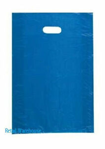 Plastic Bags 1000 Blue High Density Merchandise Gift Retail Handles 12 X 3 X 18