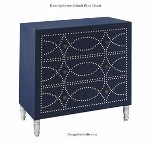 Hemispheres Cobalt Blue Small Chest Of Drawers With Chrome Nails