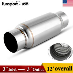 Universal 3 Inlet Outlet Exhaust Muffler Resonator 12 Long Stainless Steel