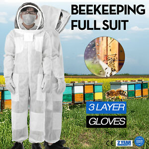 3 Layers Beekeeping Full Suit Astronaut Veil W Gloves Necessity Xl Ultra White