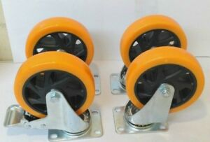 Lot Of 4 Heavy Duty 5 Inch Caster Plate Pu All Swivel Wheels With 2 Brakes