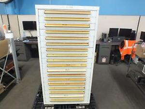 Equipto 30 w Modular Cabinet 18 Drawers 59 h White W Forklift Slots