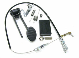 Black Gas Pedal Brake Pad Throttle Cable Kit Street Rat Rod Chevy Ford Universal