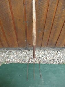 Great Vintage 3 Prong Hay Pitch Fork 38 Wooden Handle Original Country Decor