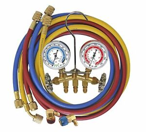 A C R134a Charging And Testing Brass Manifold Gauge Set W 3 Hoses