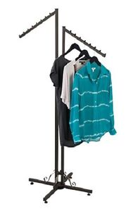 Clothing Rack Two 2 Way Slant Arms Clothes Garment Display Dark Charcoal