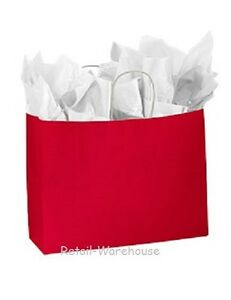 Paper Shopping Bags 100 Glossy Red Retail Gift Merchandise Bag 16 X 6 X 12