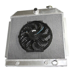 For 55 57 Chevy Bel Air Nomad V8 Mt Only 3 Core Performance Radiator 12 Fan