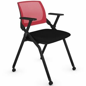 Bestar Folding Chair In Black And Red set Of 2