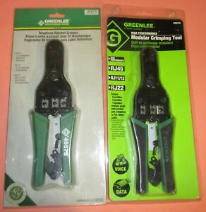 Lot 2 Greenlee 45575 Telephone Ratcheting Crimper crimping Tool rj45 Rj22 8p 4p