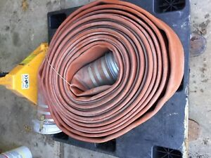 8 Discharge Hose Industrial With Cam Lock Connectors 100 Lay Flat Red Pump