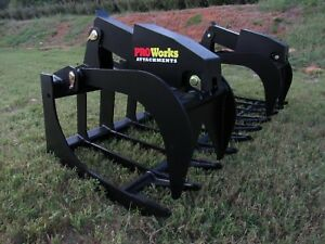 2018 Pro Works 80 Extreme Dual Cylinder Root Rake Grapple Bucket Ship 199