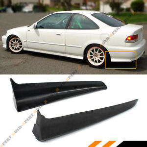 For 99 00 Civic Ek 2dr Coupe Mu Style Rear Bumper Side Aprons Spats Caps Valance
