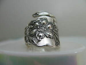 Unger Bros Sterling Silver Spoon Ring S 8 1 4 Narcissus Jewelry 6374 Floral