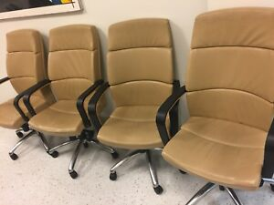 Beige Office Conference Executive Leather Chair 4 For 1 Price