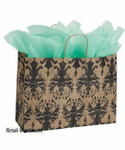 Paper Shopping Bags 50 Large Distressed Damask Retail Gift 16 X 6 X 12
