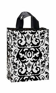 Frosty Plastic Bags 100 Black White Damask Frosted Gift Merchandise 8 X 5 X 10