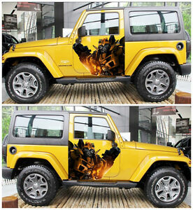 Transformers A Pair Car Door Motors Truck Graphics Vinyl Decal Sticker Bumblebee