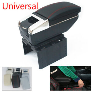 Universal Central Container Armrest Box Black Pu Leather Storage Case Cup Holder