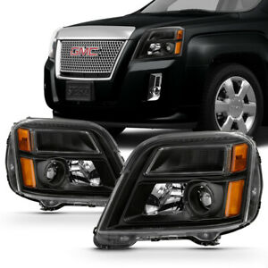 Clear Lens Amber Signal Black Housing Headlight Lamp L R For 10 15 Gmc Terrain