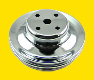 Big Block Chevy Bbc 396 454 Chrome Steel 2 Groove Upper Pulley Long Water Pump