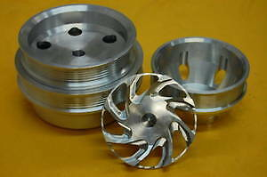 Sbc Small Block Chevy Aluminum Serpentine Pulley Kit Long Water Pump Pulleys
