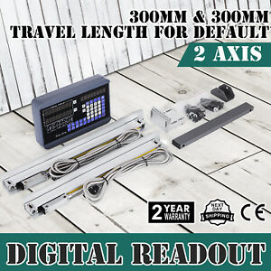 2 Axis Digital Readout Dro 2 300mm Linear Scale Reset 8 Digits Display Usa