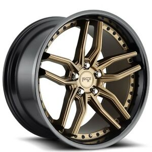 New 4 20 Staggered Niche Wheels M195 Methos Bronze Face With Black Lip Rims