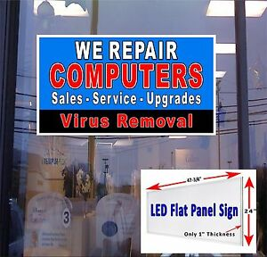 We Repair Computers Led Flat Panel Lightbox Window Sign 48x24 See Our Ebay Store