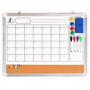 Whiteboard Monthly Wall Calendar Set Magnetic Planner Dry Erase cork Board 24