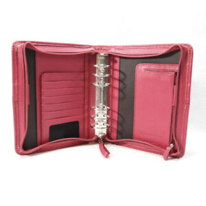Franklin Covey Compact Planner Organizer Dark Pink rose Zip Genuine Leather 1 5