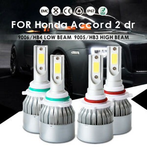 Front 9005 9006 Led Headlight Bulbs For Honda Accord 2 Dr 4 Cyl 6 Cyl 2001