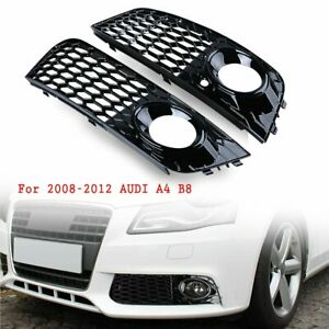 Pair Gloss Black Honeycomb Mesh Fog Light Grille Rs4 Style For 08 12 Audi A4 B8