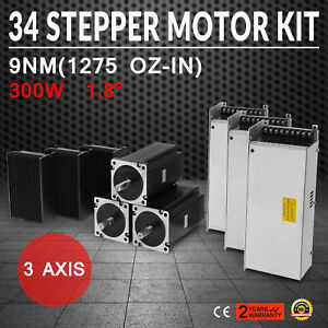 Us Free Cnc Kit 3axis Nema 34 Stepper Motor 1275oz in 3 5a driver Dm860d