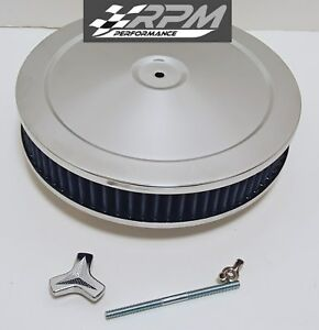 10 X 2 Chrome Air Cleaner Round Blue Filter Ford Chevy Holley Edelbrock New
